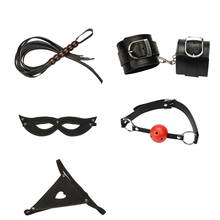 Five pieces leather Exotic Accessories whips pant mouth plug eye masks handcuffs sex toys for woman adult games bdsm sex slave цены онлайн