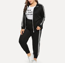 Woman Plus Size Suit New Sweatshirt Pants Sets Long Sleeve Stripe Patchwork Tracksuit Autumn Winter Fashion Casual Sport Traje#A(China)