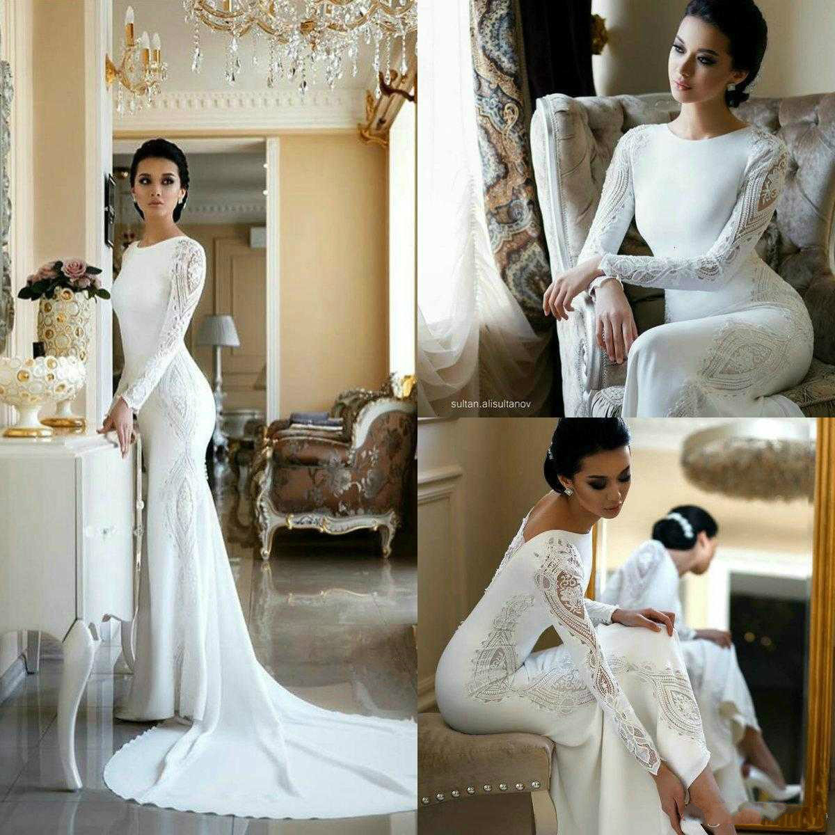 2020 Wedding Dresses Lace Appliqued Beaded Berta Sweep Train Boho Wedding Dress Bridal Gowns Plus Size Sleeves Abiti Da Sposa