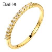 BAIHE Solid 14K Yellow Gold 0.12CT Certified H/SI Round Cut 100% Genuine Natural Diamonds Wedding Women Trendy Fine Jewelry Ring