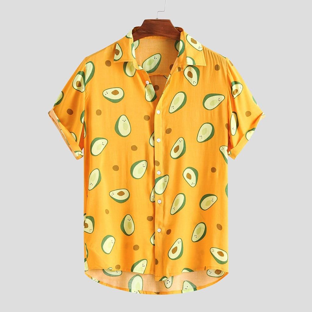 5XL Summer Avocado Print Men Shirt Turn-down Collar Short Sleeve Casual Beach Hawaiian Shirts Men Streetwear Camisa 2020
