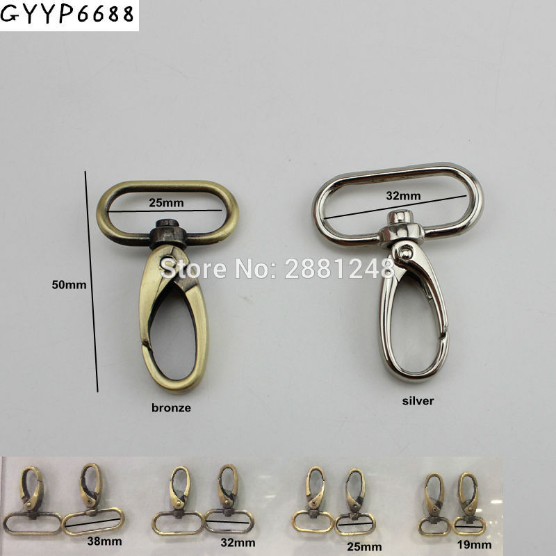 30pcs 20mm 25mm 32mm 38mm Trigger Snap Hook Brush Antique Brass Metal Trigger Snap Hook Swivel Clasp Hooks Hardware Accessories