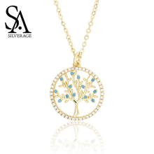 SA SILVERAGE Pendant Necklace for Women Wholesale Lots Bulk 2019 New Style Zircon Tree of Life 14k Gold-plated Round