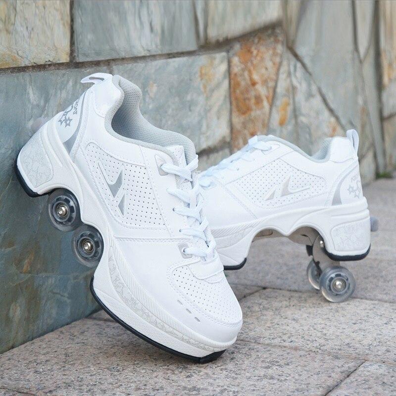 Déformer les patins à roulettes chaussures Double rangée Double roue chaussures de course automatique quatre roues Double usage Skateboard chaussures - 3