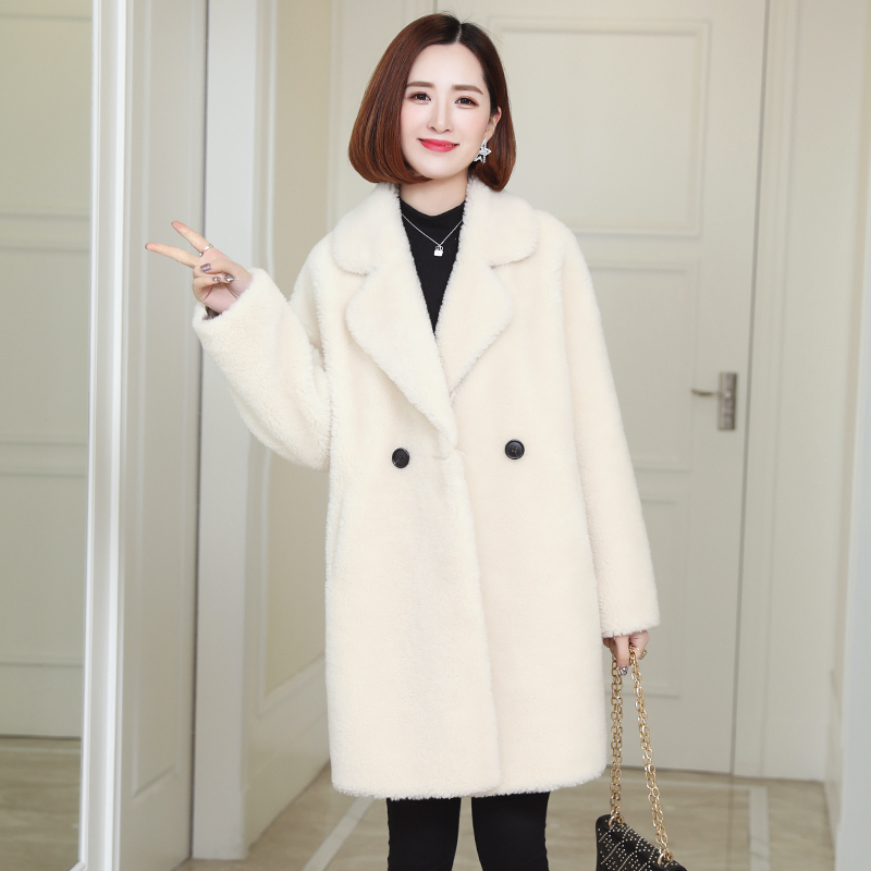 Women's Fashion 2020 Fur Coat Winter Jacket Women Clothing Natural Sheep Shearing Fur Coats Long Warm Wool Jackets A958 S S