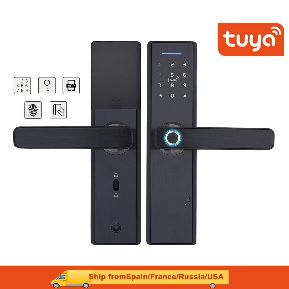 Tuya Wifi Fingerprint Smart  Door Lock,Security Home Keyless Lock,Password RFID Card Lock Wireless App Phone Remote Control