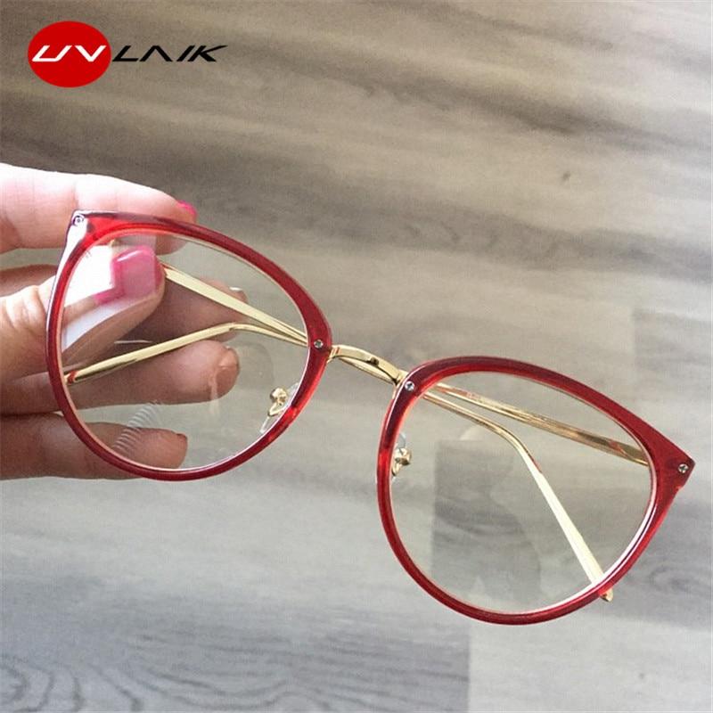 UVLAIK Optical Glasses Frame Women Myopia Round Oversized Eyeglasses Frames Trend Metal Spectacles Clear Lenses Women's Glasses