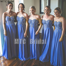 New Blue Bridesmaid Dresses Long Sweetheart A Line Appliques Chiffon Sexy Best Women Dress Plus Size Maid of Honor Party Gown