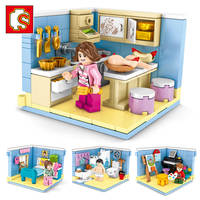 Sembo Household Interior Kitchen Bedroom House Building Block Compatible Figures Bricks Educational