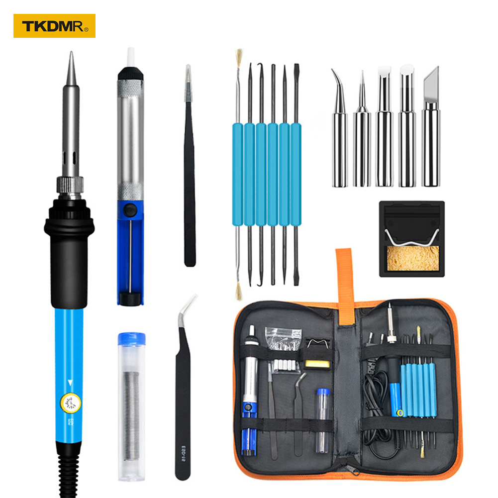 TKDMR High Quality 60W Soldering Iron Station Kit Adjustable Electric Soldering Irons Set Tweezers Solder Wire Repair Tool Kit