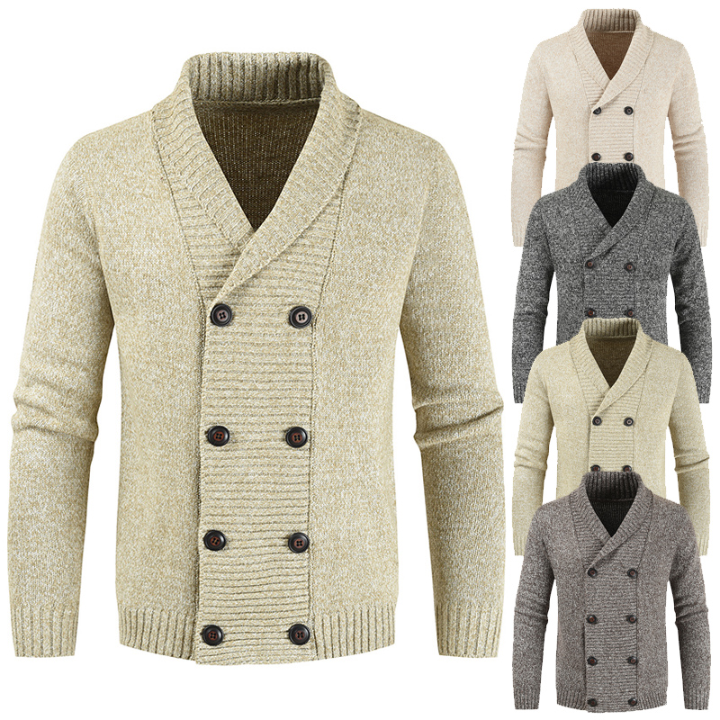 Brand Men's Cardigan Coat 2019 Winter Fashion Double Breasted Knitted Cashmere Sweater Lapel Long Sleeve Pull Homme Warm Coats