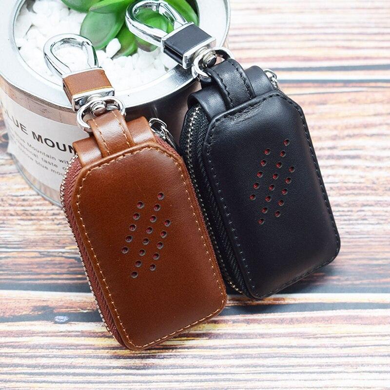 Brand Genuine Leather Car Key Case Men Zipper Keychain Organizer Pouch Wallet Vintage Key Holder For Men's Women Keys Keeper New