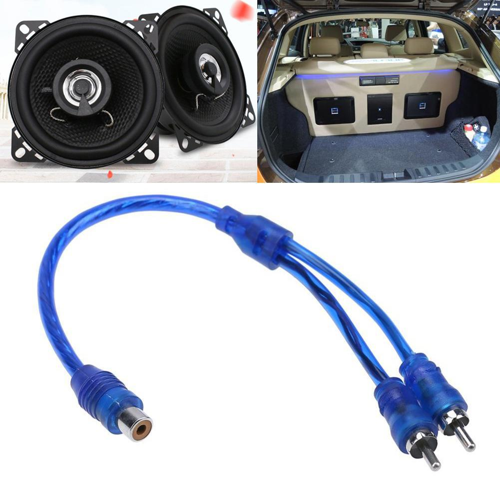 27cm 2 RCA Female To 1 RCA Male Splitter Car Audio Adapter Cable Wire Connector Car Audio System Subwoofer Portable Speaker