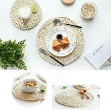 Corn fur woven Dining Table Mat Heat Insulation Pot Holder Round Coasters Coffee Drink Tea Cup Table Placemats Mug Coaster natural hand woven straw placemat dining table mat heat insulation pot holder cup coaster kitchen accessories