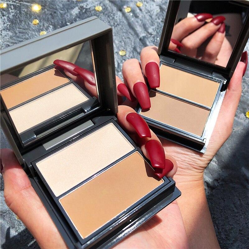 rosto maquiagem highlighter paleta shimmer contorno brilhante bronzer destaque hairline corrector rosto nariz sombra blush cosmeticos