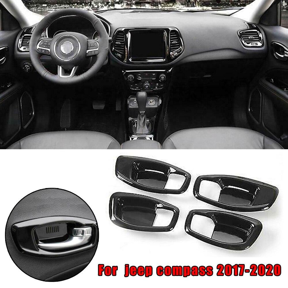 Parts Door Bowl Cover Trim Auto ABS Black Interior For Jeep Compass 2017-2020 Car Inner Door Bowl Cover Trim Car Stickers