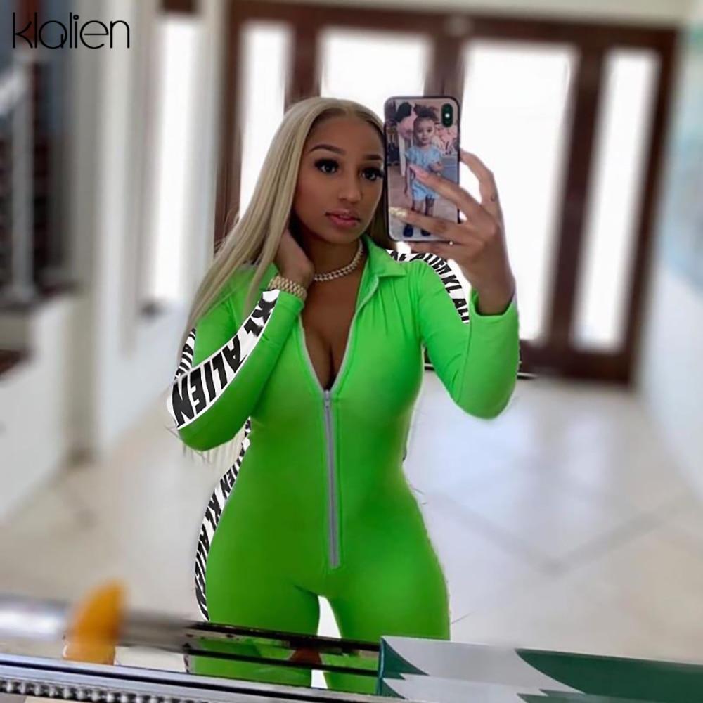 KLALIEN Women Fashion Playsuit Long Sleeve Zipper Turtleneck Skinny Rompers 2020 Letter Print On The Side Female Short Bodysuit
