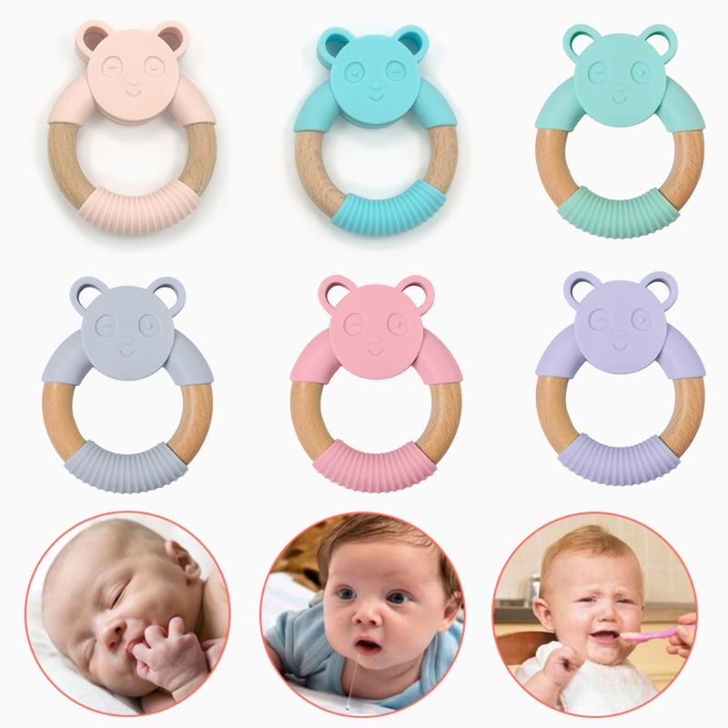 Food Grade Silicone Baby Comfort Teether Pacifier Wood Ring Cartoon Panda Shape Bite Chew Toy Gum