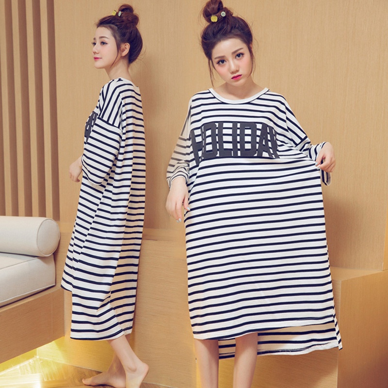 Summer New Style Three-quarter-length Sleeve WOMEN'S Nightgown Striped Letters Large Size Pajamas Loose Thin Dress Comfortable H