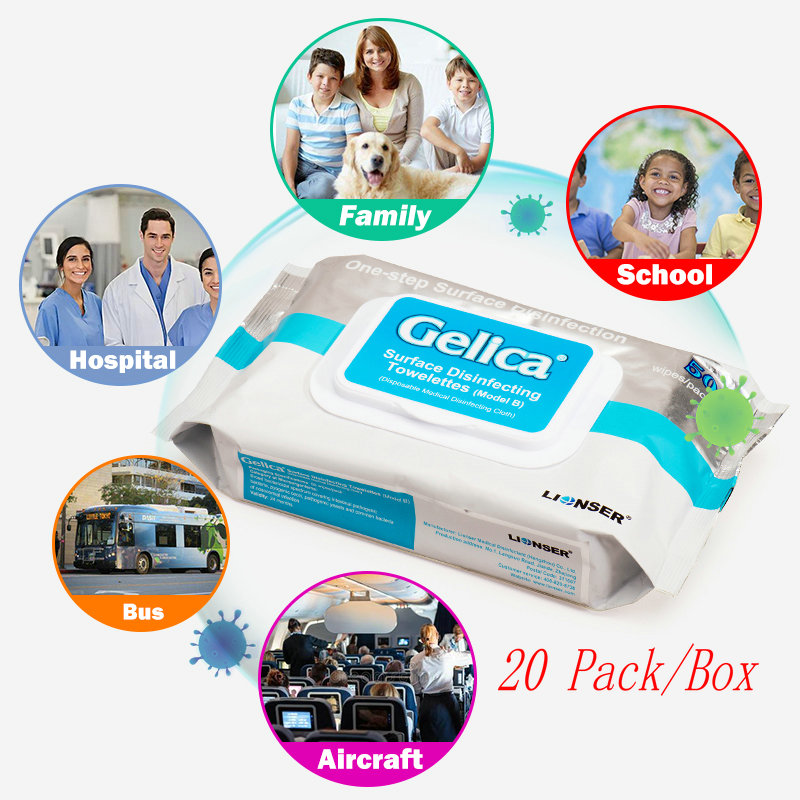 20 Pack 50 Sheets/Pack Surface Disinfectant Towelettes Disposable Wipes For Hospital Family Cleaning Care Wet Wipes