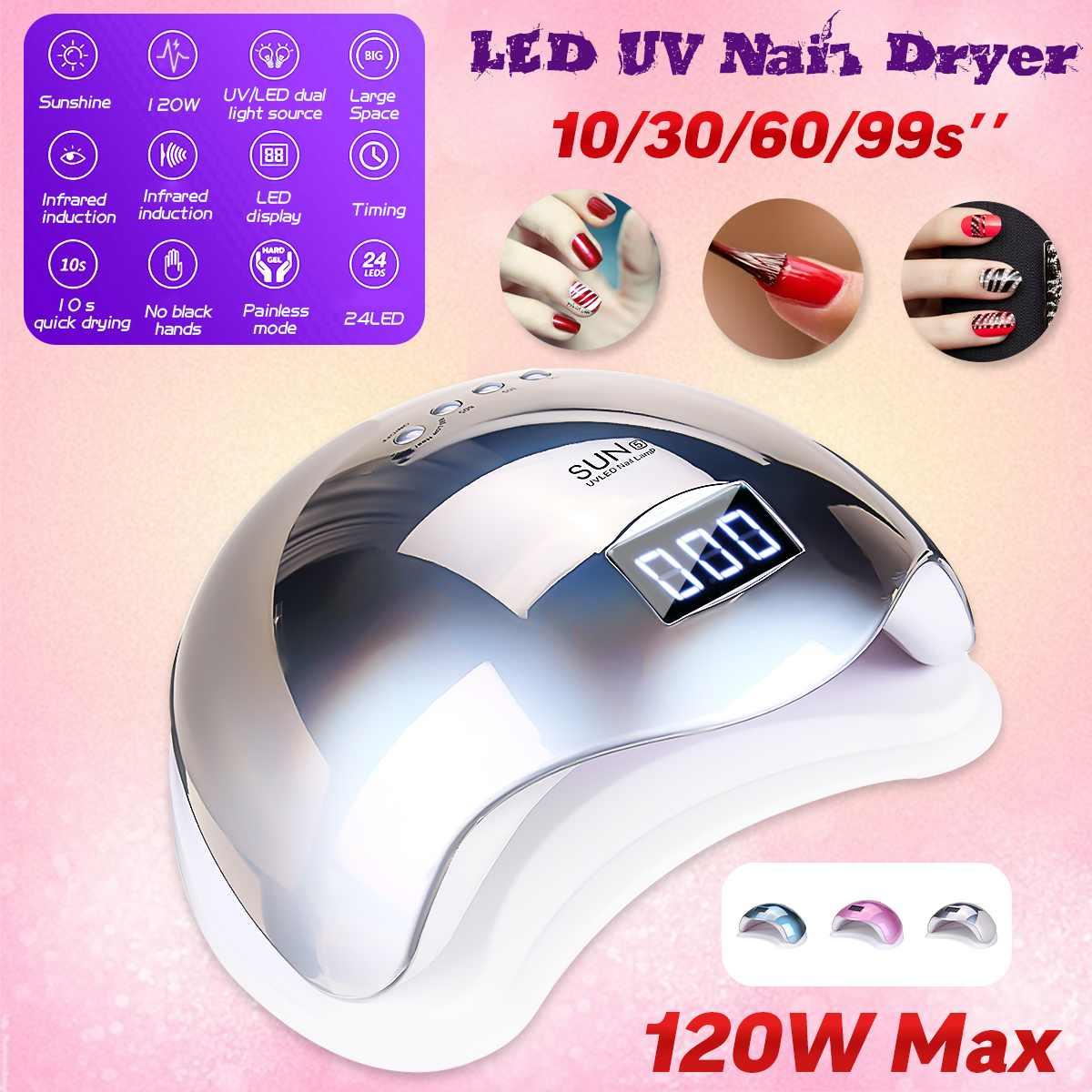 120W 4 Speed Automatic Nail Dryer Machine 24 UV/LED Dual Light Beads Gel C-uring Polishing Timing Lamp