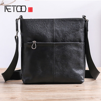 AETOO Leather men's one-shoulder bag, casual vertical small bag, trendy head leather diagonal cross men's bag