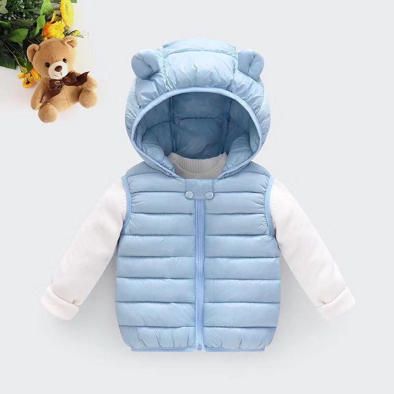 Одежда для маленьких девочек; зимнее Детское пальто; светильник с капюшоном; однотонная хлопковая верхняя одежда; жилет для малышей; одежда для маленьких мальчиков - Цвет: Синий