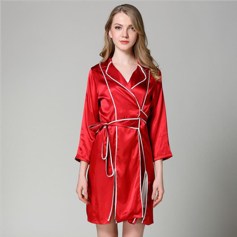 Pajama Women Silk Dressing Gown Lady Lace <font><b>Sexy</b></font> Pajamas Home Wear Black Border Attractive Night Dress <font><b>Camison</b></font> <font><b>Sexy</b></font> <font><b>Mujer</b></font> Пижама image