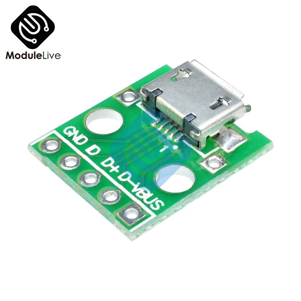 2.54 Mm MICRO USB To DIP Adapter 5pin Female Connector B Type PCB Converter Pinboard 2.54mm