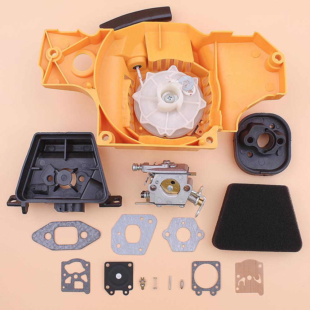 Recoil Rewind Pull Starter Carburetor For Partner 350 351 Air Filter Cleaner Element Cover Gasket Adaptor Repair Kit Chainsaw