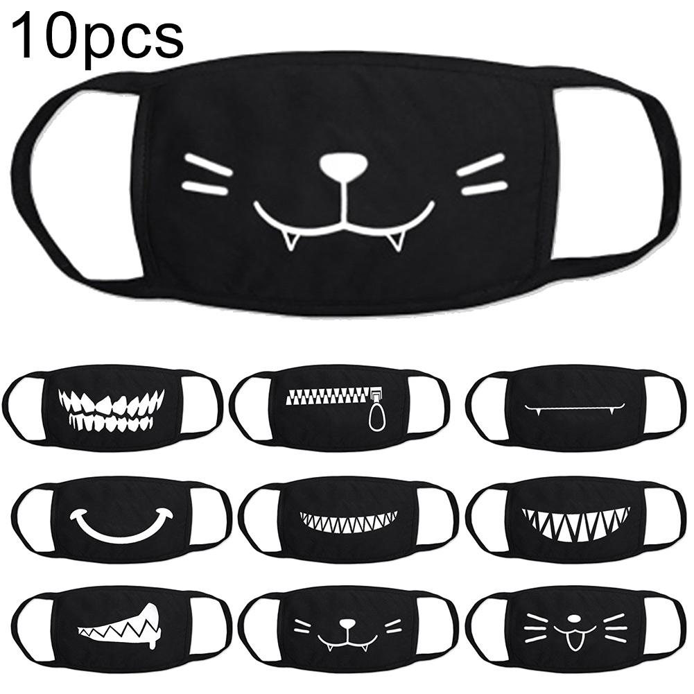 10Pcs Cute Cartoon AntiDroplet Dust Washable Reusable Cotton Face Mask Cover Windproof Dustproof StopThe Flying Spit Anti-virus
