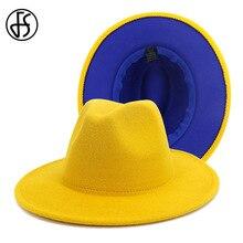 FS Fashion Yellow Royal Blue Patchwork Felt Hat Women Men Wi