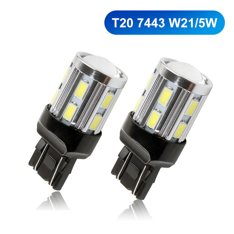 2pcs T20 W21/5W 7443 LED White LED Chip 12SMD 5730 Auto Brake Lights Reversing Lamp Bulb Car Led Bulbs DRL 12V image