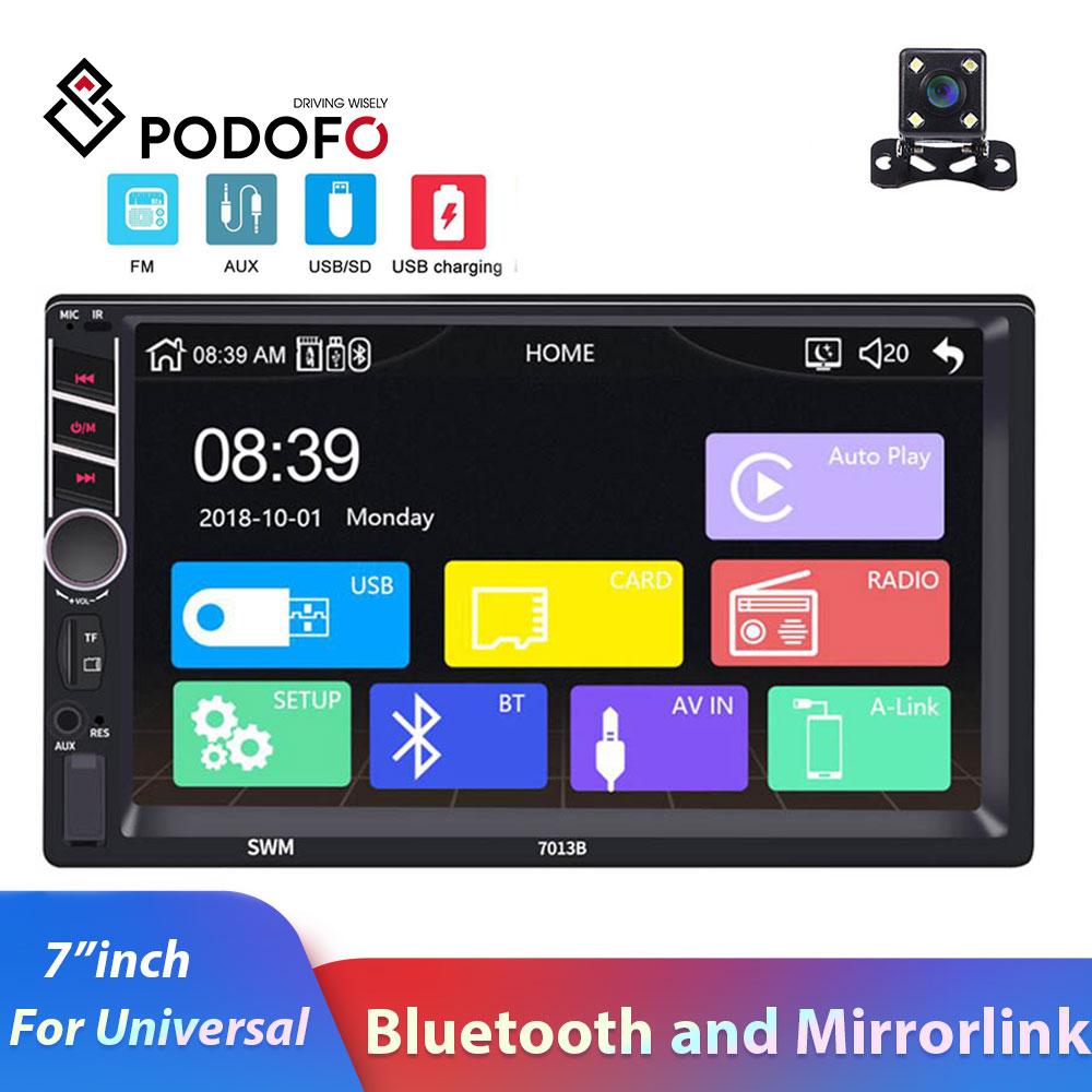 2din car radio Podofo 7 HD Touch Screen Auto Radio bluetooth Android ISO mirro link rear