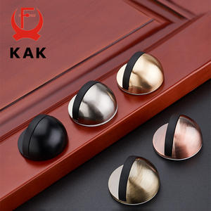 KAK Zinc Alloy Rubber Door Stopper Black Gold Nail-free Sticker Hidden Door Holder Catch Floor Mounted Door Stop Door Hardware