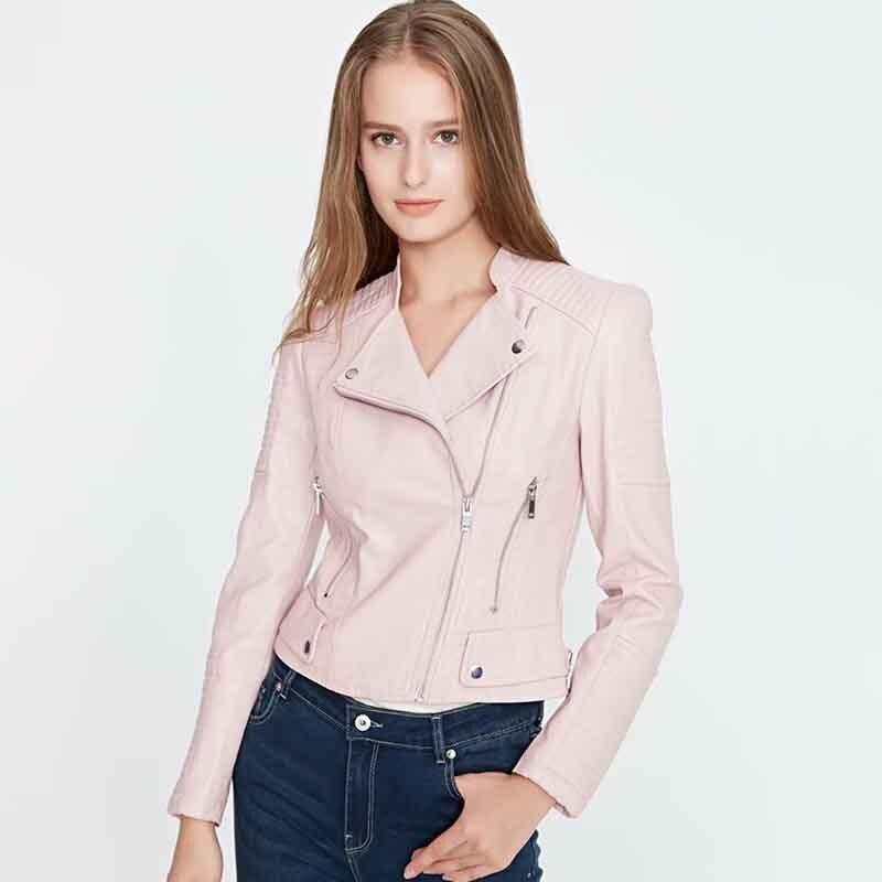 streetwear fashion women   suede     leather   jackets 2019 autumn ladies short bomb jacket cool girls zipper slim pink coats chic top