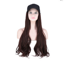 JOY&BEAUTY 24 Inch Long Wavy Wig Baseball Cap And Hair Extensions Black Brown Synthetic Hair Integrate Cap For Girl Party Wig(China)