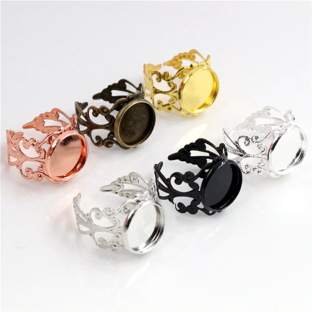 12mm 10pcs Classic 6 Colors Plated Copper Material Adjustable Ring Settings Base,Fit 12mm Glass Cabochons;Ring Bezels