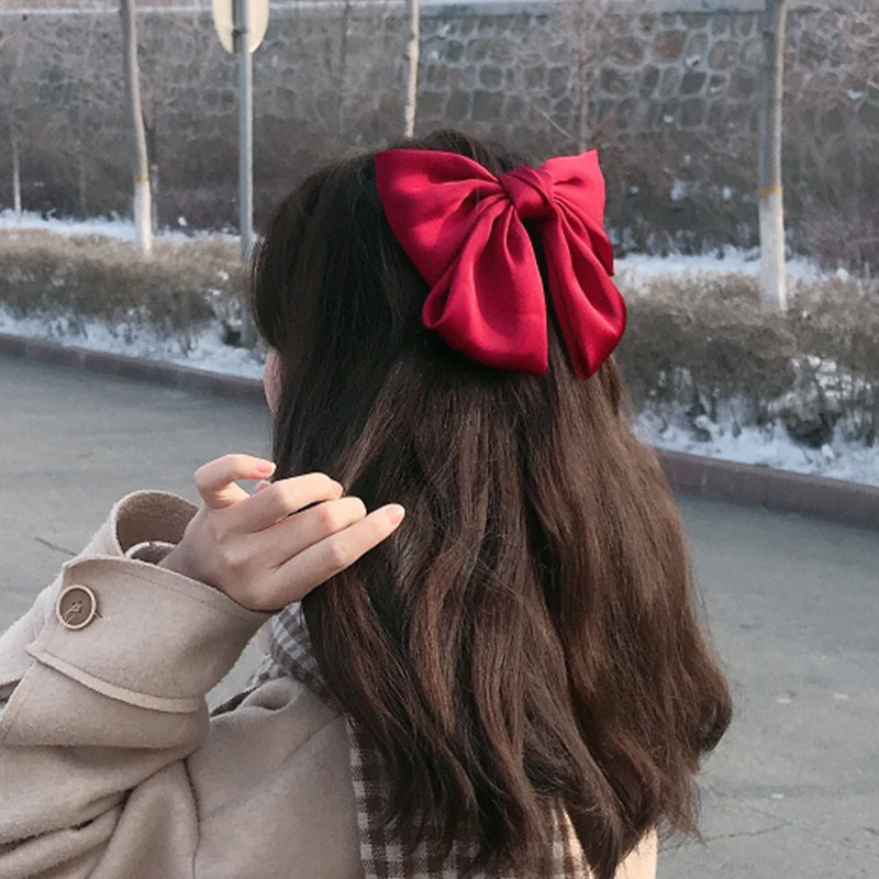 New Women Girls Elegant Big Bow Ribbon Hair Clips Elastic Hair Bands Ponytail Holder Headband Fashion Hair Accessories