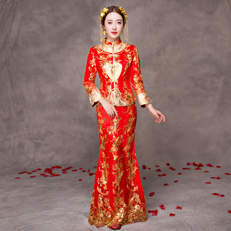 Chinese Traditional Wedding Dress 2019 Spring New Style Chinese-style Bride Marriage Fishtail Slim Fit Explicit Thin Long Cheong