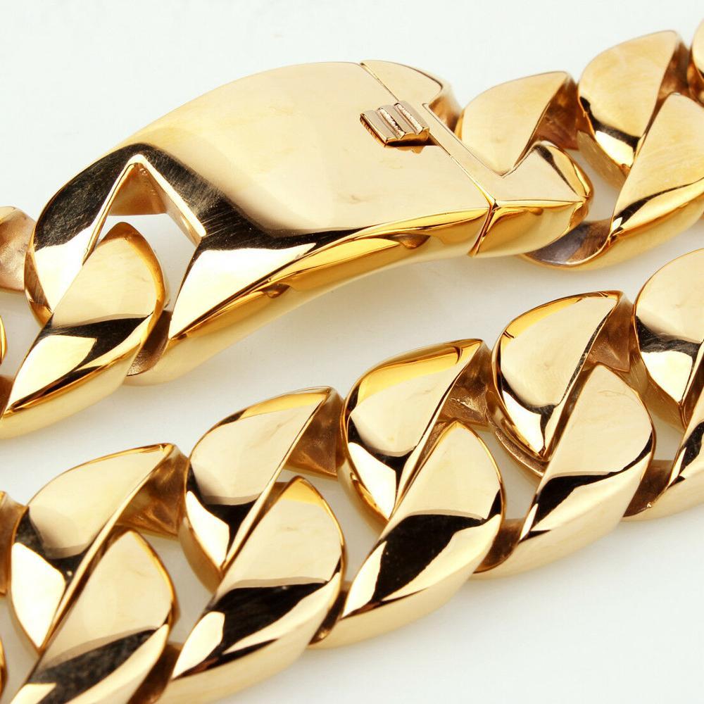 Image 3 - 31 мм полированное тяжелое мужское ожерелье из нержавеющей стали 316L золотая цепочка с кубинским кольцом мужское женское ожерелье/браслет 7 40 дюймов-in Ожерелья-цепочки from Украшения и аксессуары