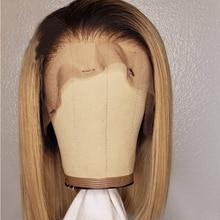 Remy curto bob ombre loira 1b30 cor glueless preplucked transparente 13x 4/6 frente do laço perucas humanas com o cabelo do bebê para mulher