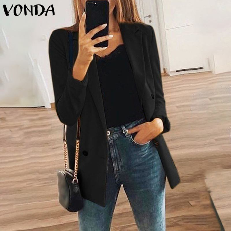 VONDA Women Casual Long Sleeve Solid Color Turn-down Collar Coat Lady Business Jackets Coat Slim Tops Women Blazers Female 2020