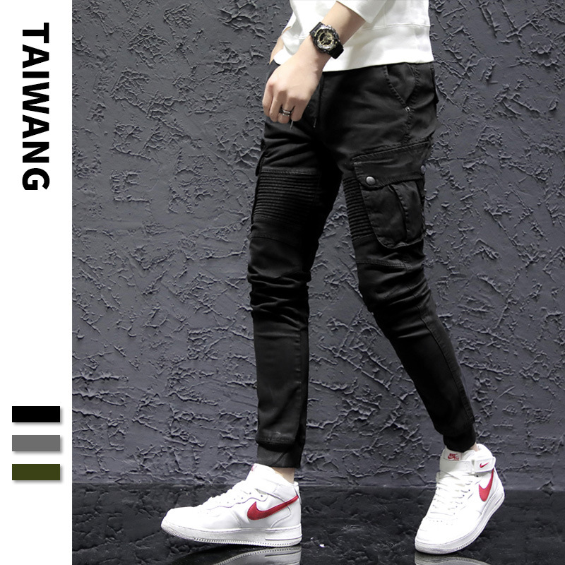 2019 Spring New Style Handsome Harem Pants Europe And America Hip Hop MEN'S Overalls Popular Brand Youth Bags Loose-Fit Trousers