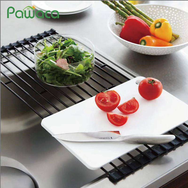Multipurpose Roll-Up Dish Drying Rack Tray Over The Sink Dish Drainer Foldable Washing Fruit Vegetable Drainer Kitchen Organizer
