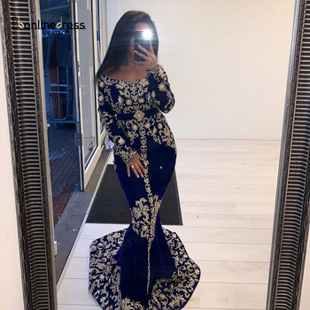 Bbonlinedress Moroccan Kaftan Evening Dresses Embroidery Appliques Long Dress Sleeves Mermaid Arabic Muslim Party-Dress