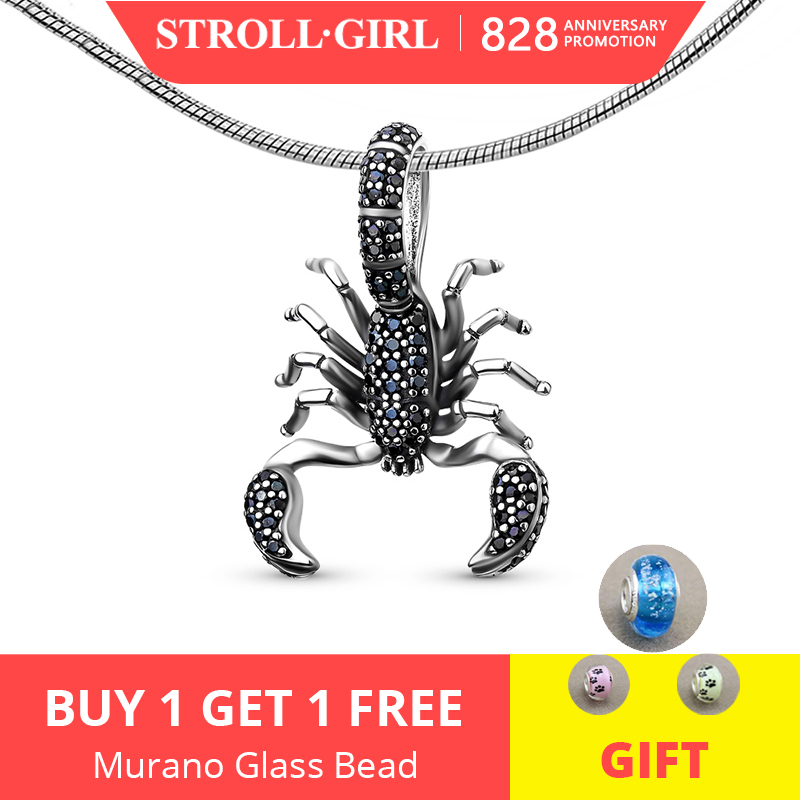 Strollgirl Scorpion-Pendant Bracelets Charm Jewelry Gift 925-Silver sterling-Beads Animal
