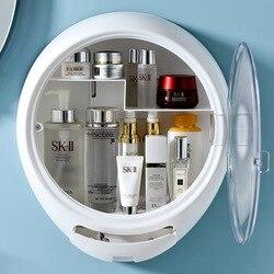 Новый настенный держатель для макияжа для ванной комнаты, круглая косметическая коробка для хранения ювелирных украшений, органайзер для ж...