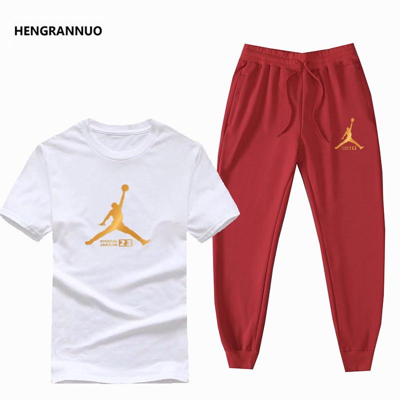 New Summer Hot Sale T Shirts+pants Men Set 2 Pieces Set Casual Tracksuit Male 2019 Tshirt Jordan 23 Summer Cotton T Shirt Sets
