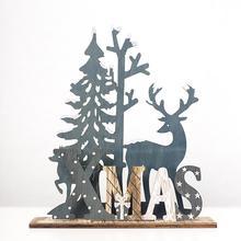 QIFU Wooden Christmas Decorations For Home 2019 Noel Ornaments Elk Santa Claus Xmas Tree